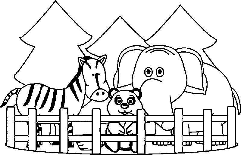 Zoo Very Cute Animals Coloring Page